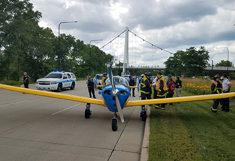 The rented Ercoupe on Lake Shore Drive in downtown Chicago